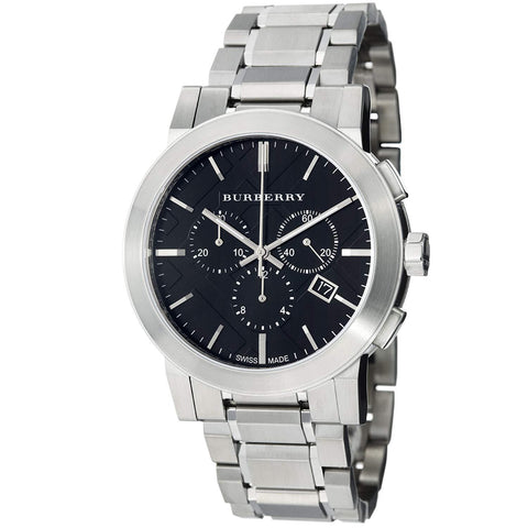 Burberry BU9351 Large Check Silver Swiss Made Mens Watch
