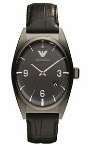 Emporio Armani AR0368 Black Classic Leather Strap Mens Watch