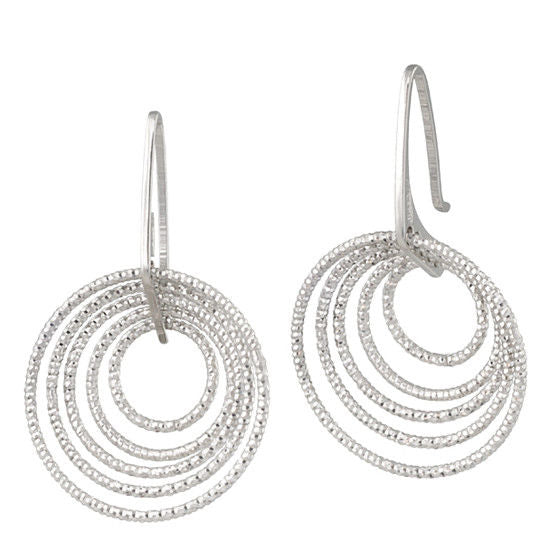 Frederic Duclos E270 Sterling Silver 3D Small Circle Drop Earrings