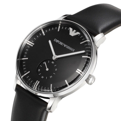 Emporio Armani AR0382 Classic Black Leather Mens Watch