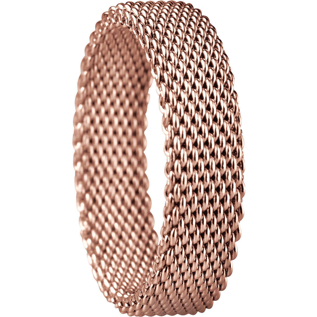 Bering 551-30-72 Rose Gold Tone Round Symphony Collection Mesh Ring Size 9