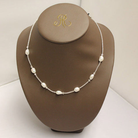 Frederic Duclos NE444 Sterling Silver Pearl Women Chain Necklace