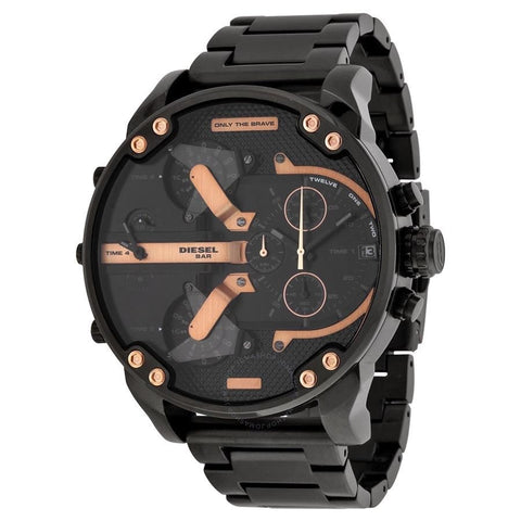 Diesel DZ7312 Only the Brave Black & Rose Gold Oversized Stainless Steel Watch