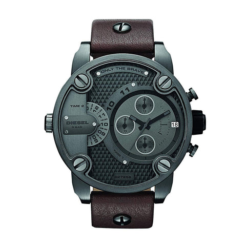 Diesel Little Daddy DZ7258 Gunmetal Brown Leather Men's Watch