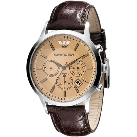 Emporio Armani AR2433 Classic Chronograph Brown Leather Mens Watch