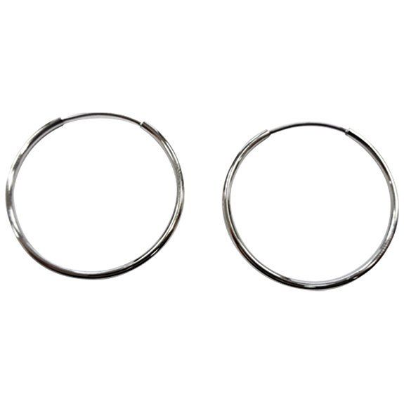 Bering 750-10-06 Silver Tone Round Hoop Women Earrings