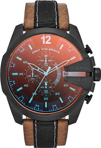 Diesel DZ4305 Mega Chief Chroma Glass Chronograph Leather Mens Watch