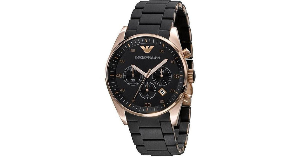Emporio Armani AR5905 Rose Gold and Black Chronograph Wrist Watch for Men