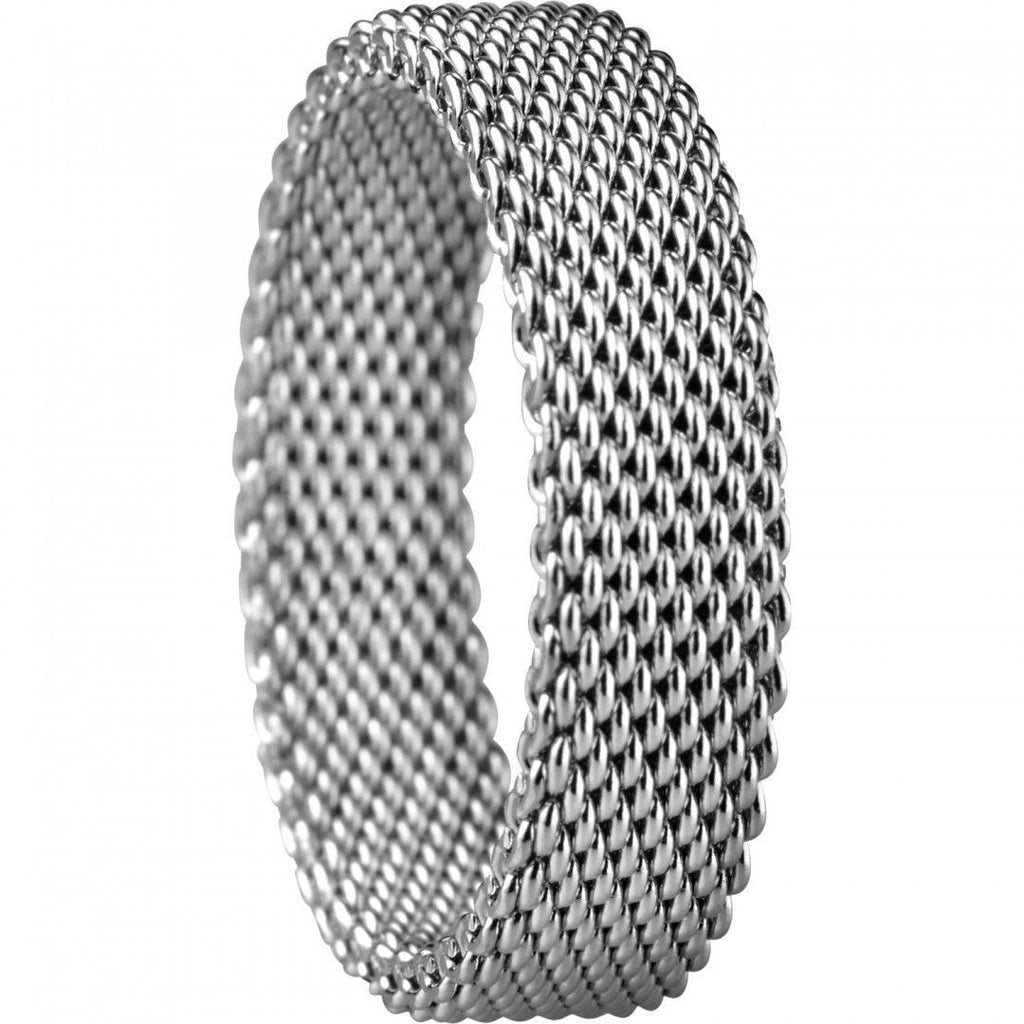 Bering 551-10-X2 Silver Tone Mesh Arctic Symphony Collection Inside Ring Size 10