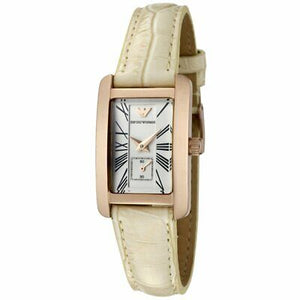 Emporio Armani Women's AR0173 White Dial White Leather Watch