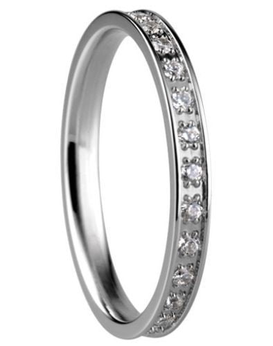 Bering 556-17-X1 Silver Tone With CZ Arctic Symphony Collection Ring Size 7