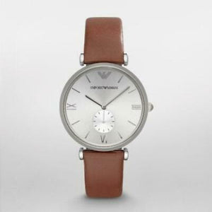 Armani Retro AR1675 Silver Brown Leather Band Mens Watch