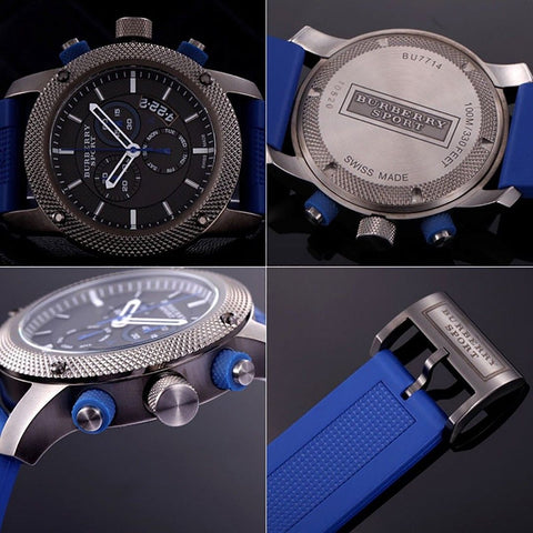 Burberry BU7714 Sport Graphite Case with Blue Silicon Band Chronograph Watch