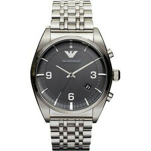 Emporio Armani Men's Stainless Steel Etched Black Dial Watch AR0369