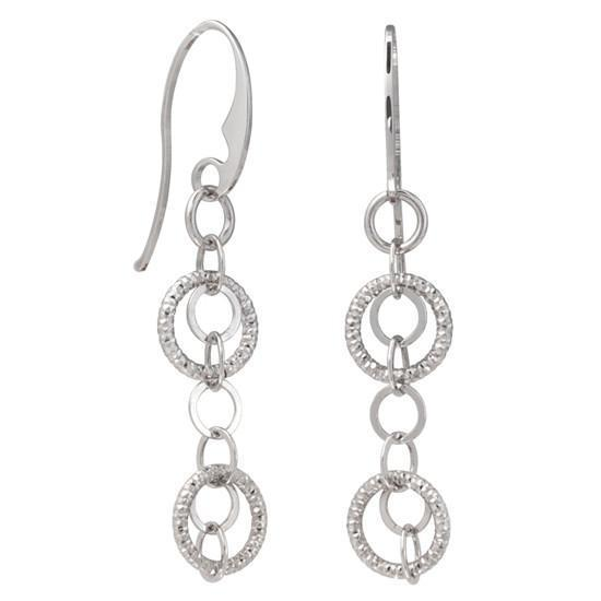Frederic Duclos E189 Sterling Silver Chandelier Small Circle Dangling Earrings