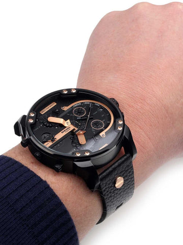 Diesel DZ7350 Mr. Daddy 2.0 Chronograph Black Dial Black Leather Men's Watch