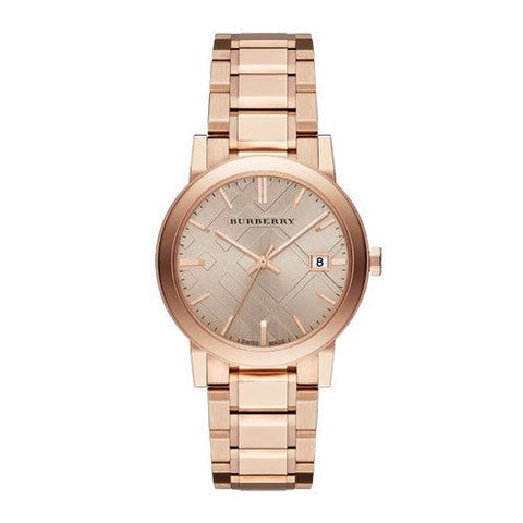Burberry BU9034 The City Rose Gold Check Ladies Watch w/ Date.