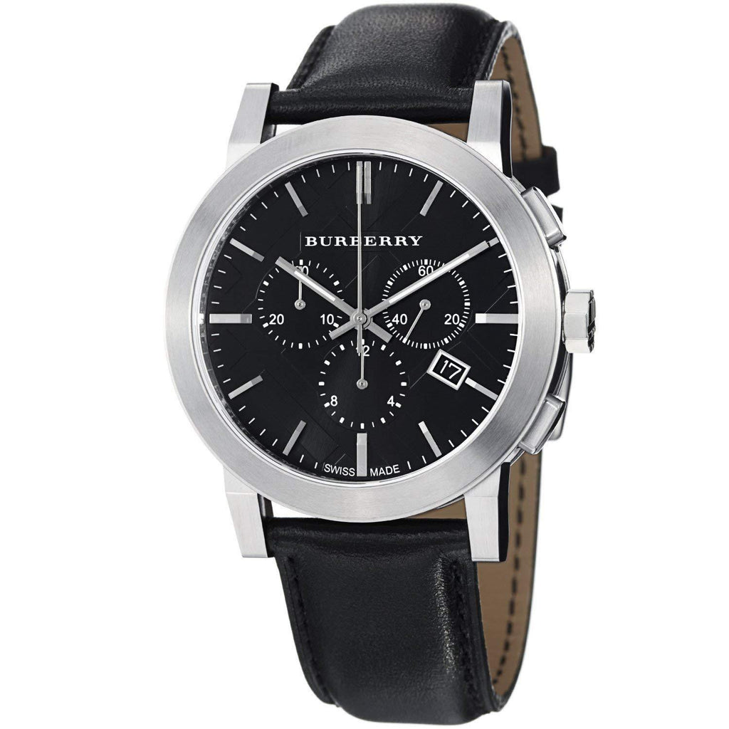 Burberry BU9356 Large Check Black Dial Swiss Made Mens Watch