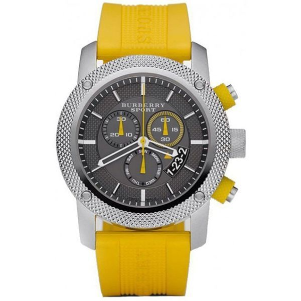 Burberry BU7712 Sport Chronograph Black Dial Yellow Rubber Mens Watch