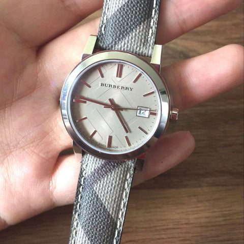 Burberry BU9118 Check Smoke Swiss Made Womens Watch