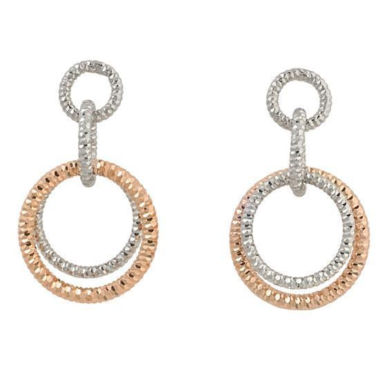 Frederic Duclos E215 Sterling Silver Two Tone Circle Earrings