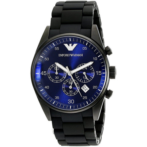Emporio Armani AR5921 Sportivo All Black Blue Face Chronograph Mens Watch