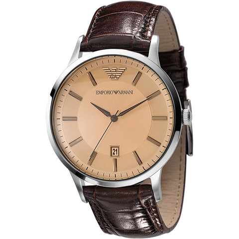 Emporio Armani AR2427 Classic Brown Leather Mens Watch