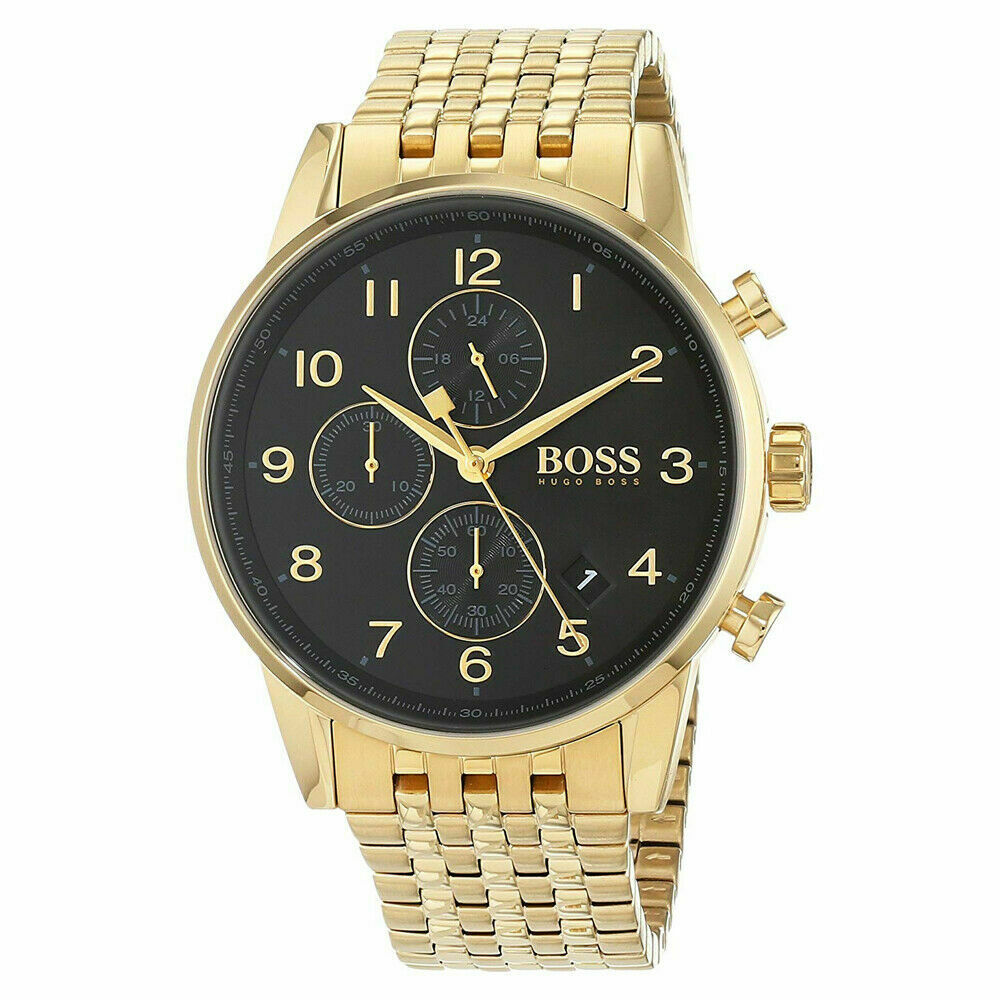 BOSS Hugo Boss 1513531 Navigator Gold with Black Dial Chronograph Mens Watch