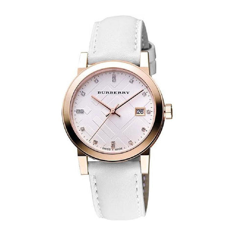 Burberry BU9130 The City Rose Gold Leather Ladies Watch w/ Date Dial