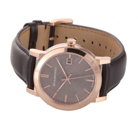 Burberry BU9013 Check Brown Leather Strap Mens Watch