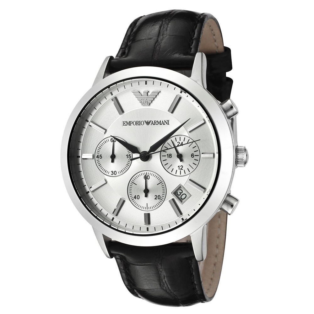 Emporio Armani AR2432 Classic Silver Chronograph Leather Mens Watch