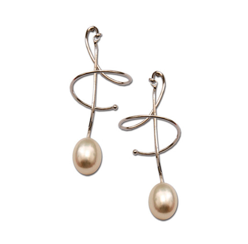 Frederic Duclos E248 Sterling Silver White Pearl Chandler Dangling Earrings