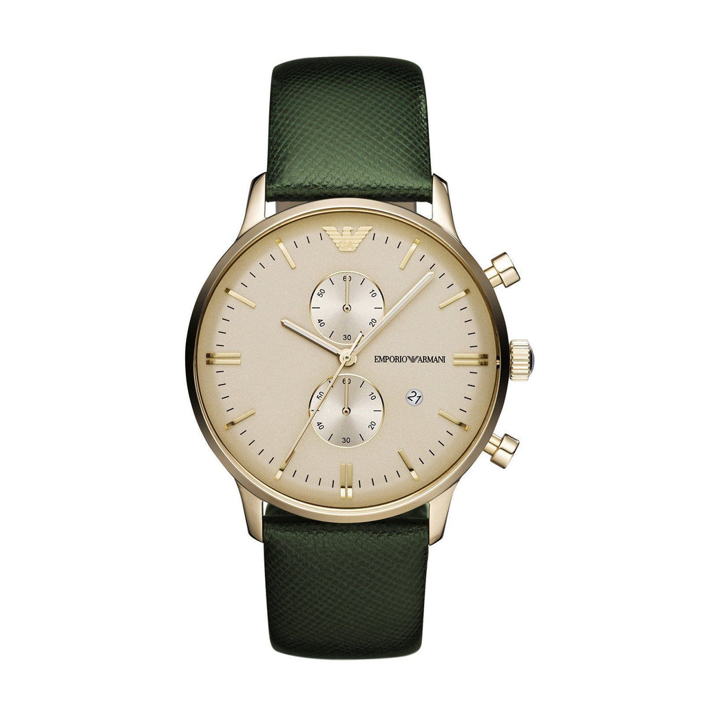 Emporio Armani AR1722 Classic Green Leather Mens Watch