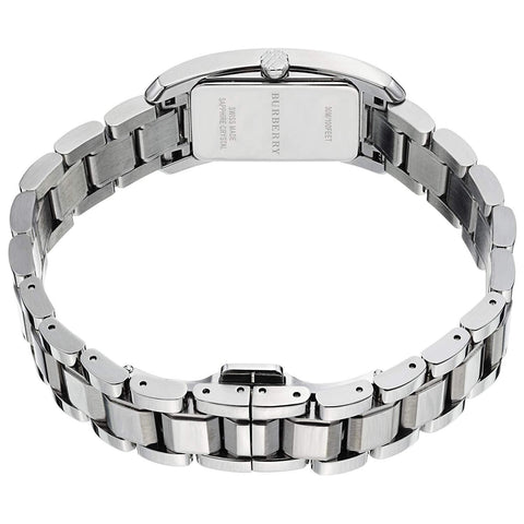 Burberry BU9500 Check Rectangle Small Silver Womens Watch