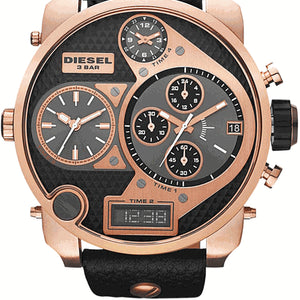 Diesel DZ7261 Mr. Daddy Four Time Zone Black Leather Men's Watch