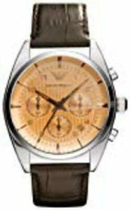 Emporio Armani Men's Classic AR0395 Brown Leather Quartz Watch with Beige Dial