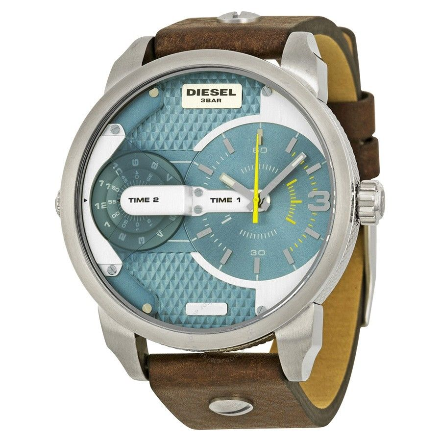 Diesel Men's DZ7321 Mini Daddy Watch With Brown Leather Band