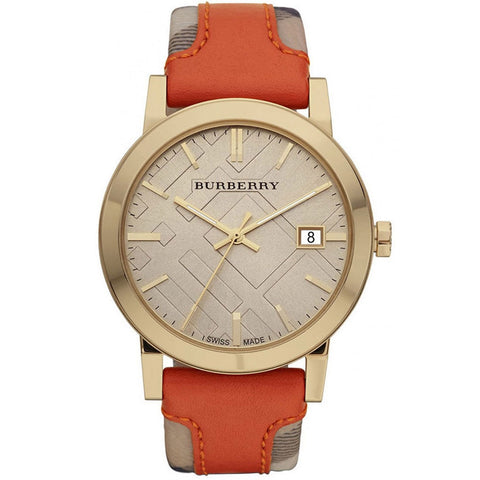 Burberry BU9016 Large Check Swiss Made Orange Leather Womens Watch