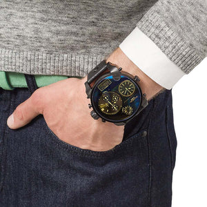 Diesel DZ7257 Bad Ass Chronograph Blue Dial Black Leather Men's Watch