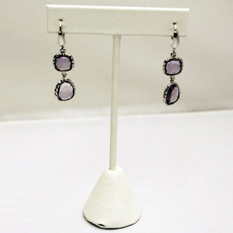 Frederic Duclos E509 Sterling Silver Amethyst Double Drop Dangle Earrings