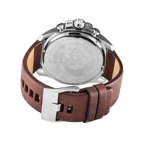 Diesel DZ4290 Mega Chief Silver Chronograph Brown Leather Mens Watch