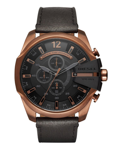 Diesel DZ4459 Mega Chief Copper and Black Chronograph Leather Mens Watch