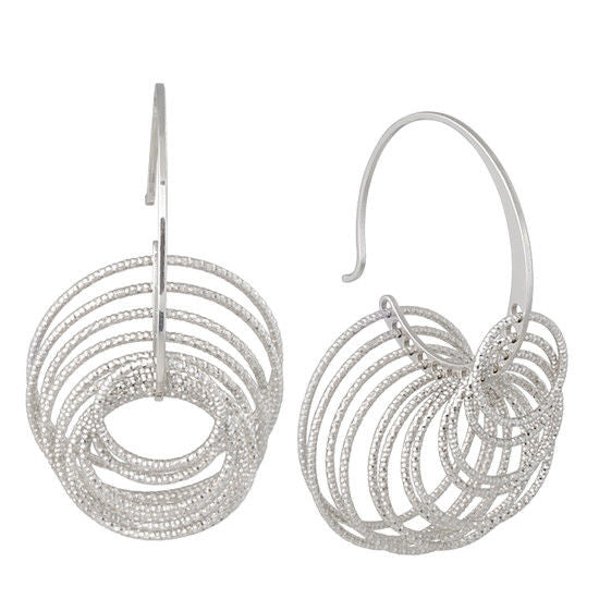Frederic Duclos E260 Sterling Silver 3D Circle Hoop Earrings