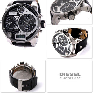 Diesel DZ7125 Mr Daddy Oversized Silver Black Dial Leather Band 56MM Men's Watch
