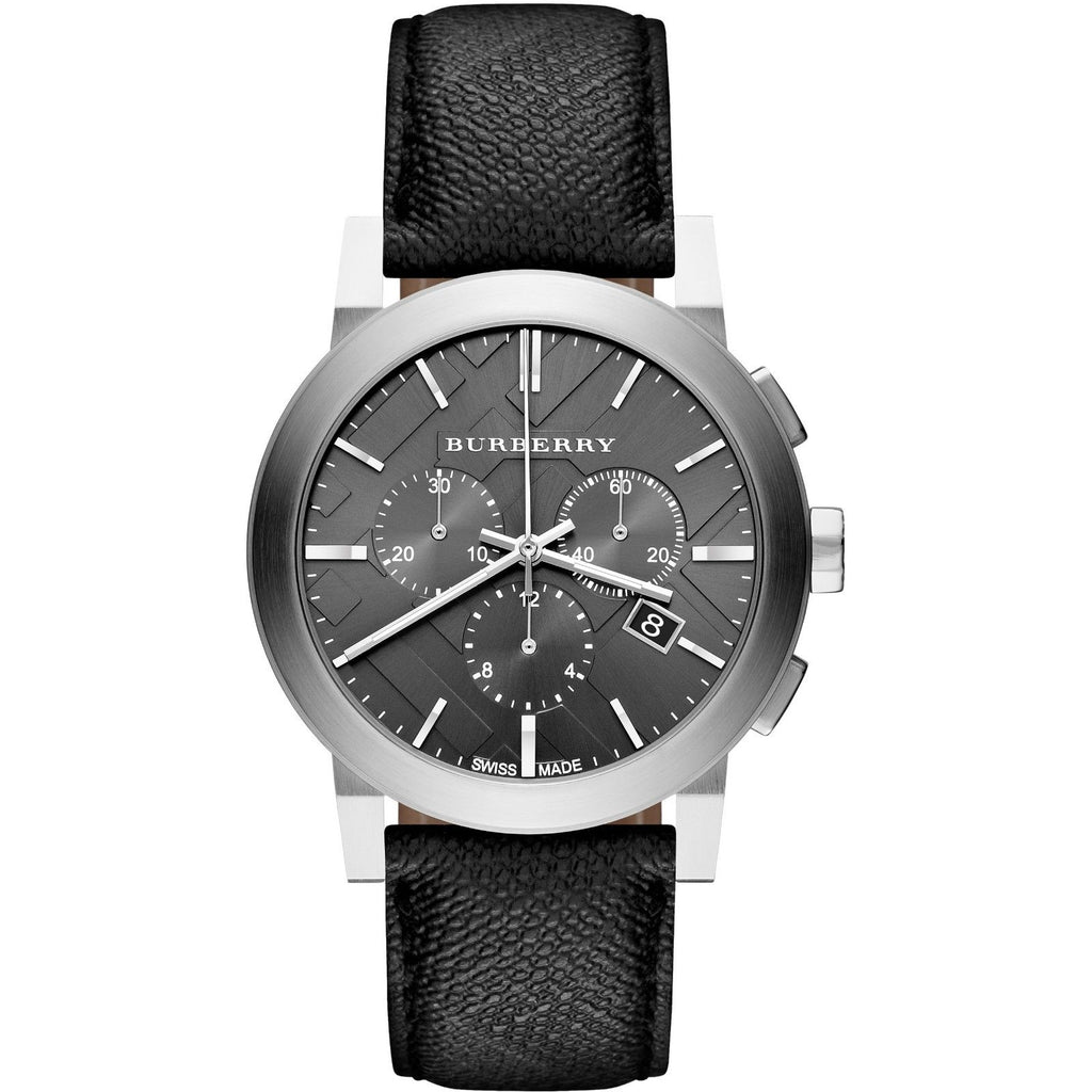 Burberry BU9362 The City Black Dial Swiss Made Leather Mens Watch