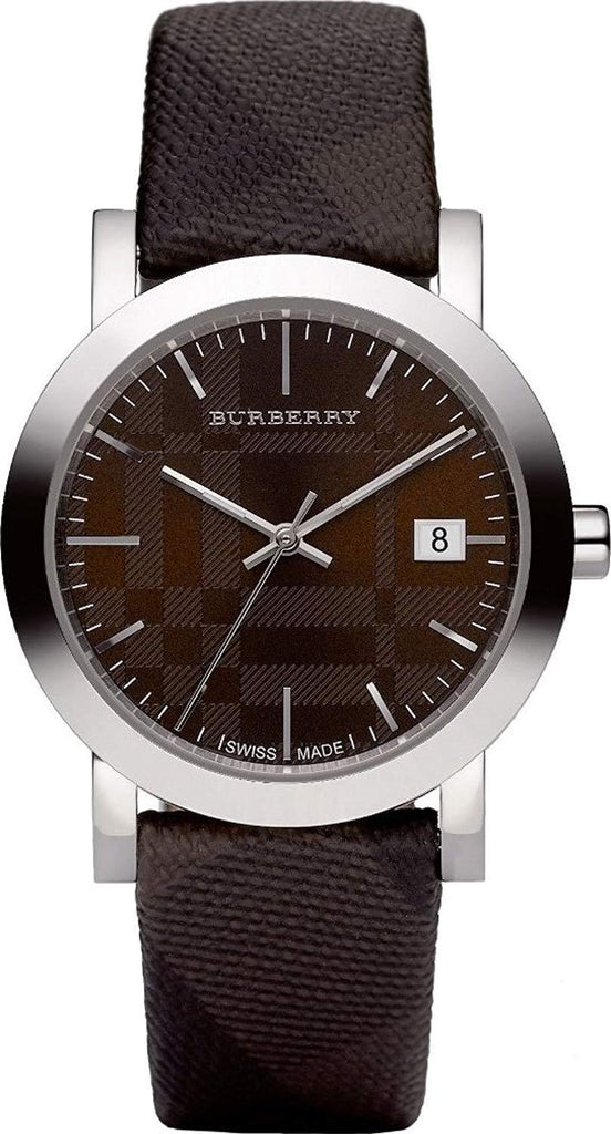 Burberry BU1775 Large Check Brown Swiss Made Leather Womens Watch