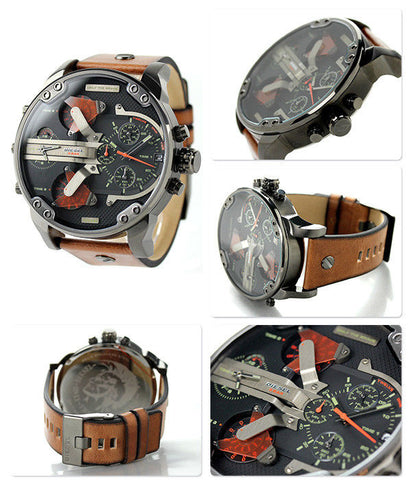 Diesel Men's DZ7332 Mr Daddy 2.0 Gunmetal Brown Leather Watch