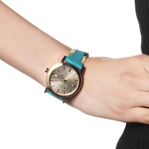 Burberry BU9018 Haymarket Turquoise Swiss Made Leather Womens Watch