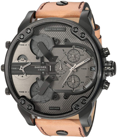 Diesel DZ7406 Mr. Daddy 2.0 Chronograph Brown Leather Band Mens Watch