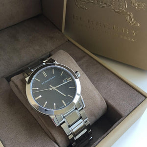 Burberry BU9001 Large Check Black Dial Swiss Made Mens Watch